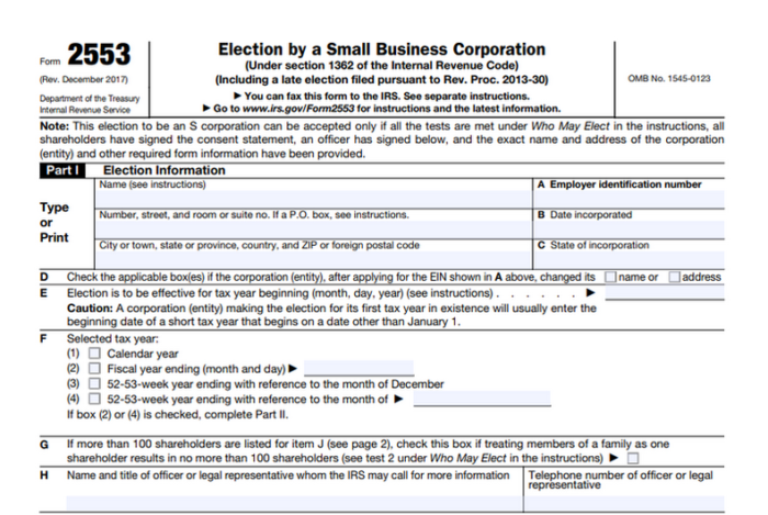 S Corporation Election IRS